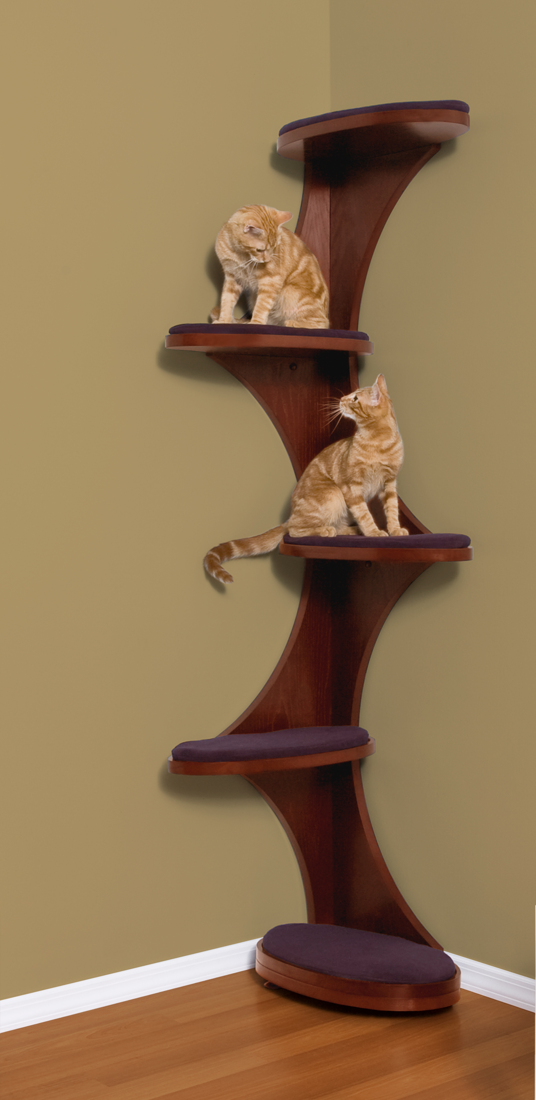 Modern cat tree furniture images for Bookshelf cat tower
