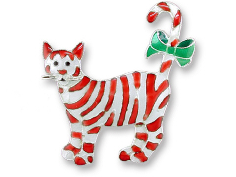 Candy Cane Jewelry Candy Cane Cat Christmas Pin